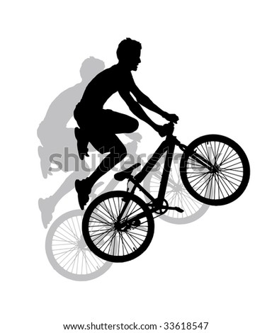 jump with a mountain bike - silhouette (vector also available)