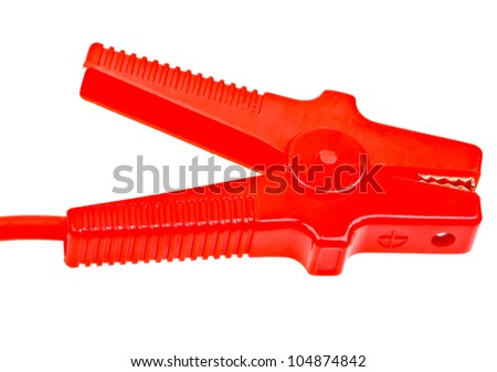 Jumper cable isolated on white background - stock photo
