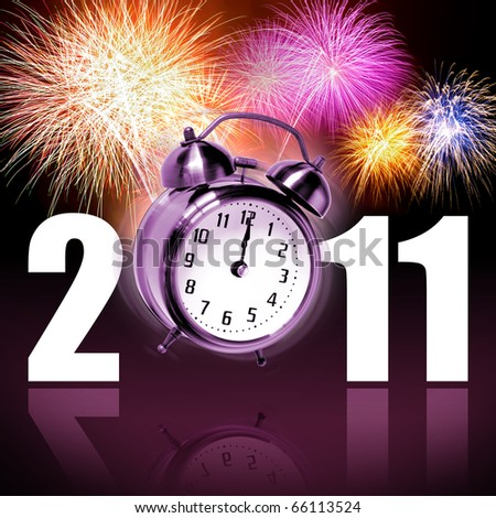Jumping alarm clock at midnight of new year eve with fireworks - stock photo