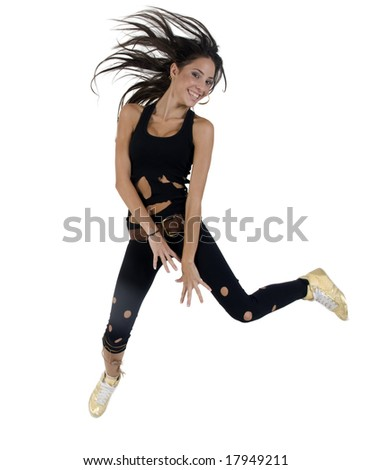 jumping beautiful woman on isolated studio picture