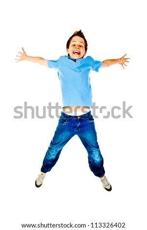 jumping boy isolated on a white background - stock photo