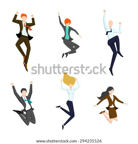 Jumping business people in the air. Happy and successful business icons.  Joy and achievement, person woman and man - stock photo