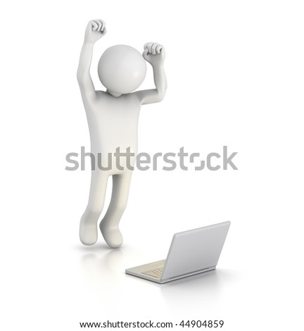 Jumping for Joy at Laptop - stock photo