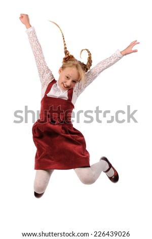 jumping girl isolated over white background - stock photo