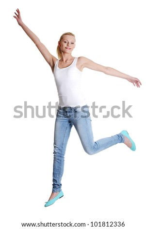 Jumping happy teen girl, isolated on white background - stock photo