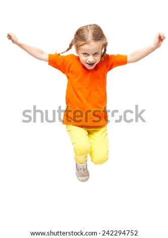 Jumping little child. Girl isolated on white - stock photo