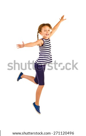 jumping little girl isolated on a white background