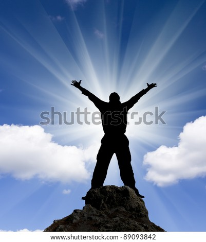 jumping man against blue sky. - stock photo