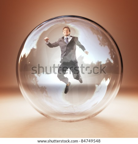 jumping man in 3d glass sphere - stock photo