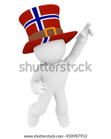 Jumping man with the flag of Norway on his hat, 3d rendering - stock photo