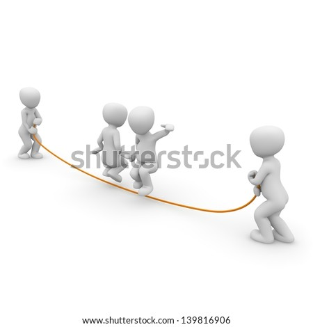 Jumping rope is a very popular sport especially among girls. - stock photo