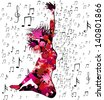 jumping silhouette with musical background . Raster version of vector illustration - stock photo