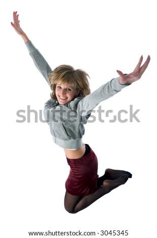 jumping smiling girl. isolated on white background - stock photo