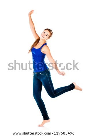 jumping teenager isolated on a white background