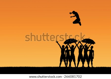 Jumping to the concept than others. - stock photo