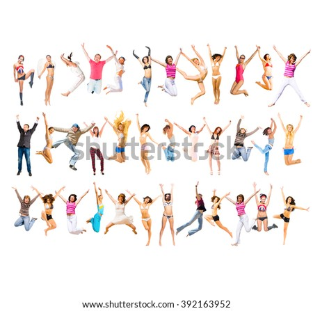 Jumping Together People Celebrating  - stock photo