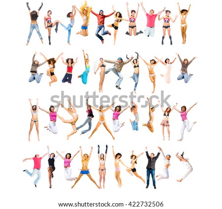 Jumping Together United Colleagues  - stock photo