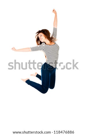 jumping woman isolated on a white background - stock photo