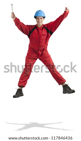 jumping young female manual worker, isolated on white - stock photo