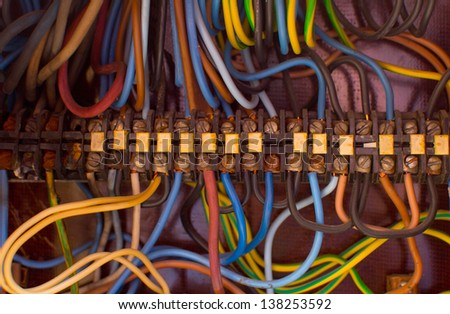junction box of power grids in the clear - stock photo