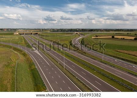 junction of highways  - stock photo