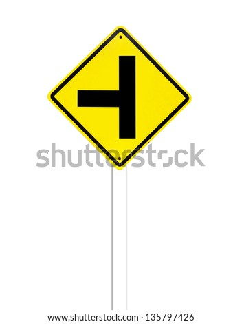 junction sign,intersection, crossroad traffic sign on white - stock photo