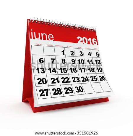 June 2016 calendar - stock photo