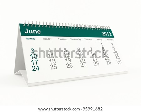 June 2012 calendar - stock photo