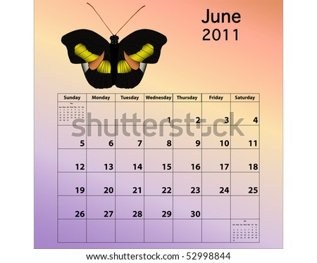 June 2011 calendar with butterfly - stock photo
