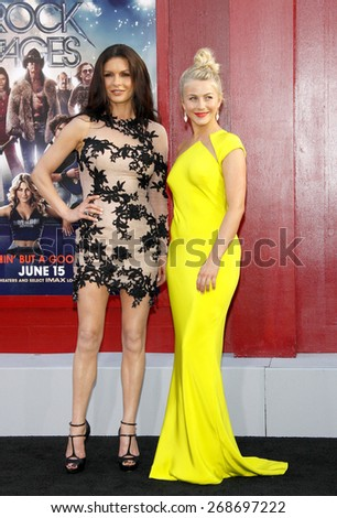 "June 8, 2012. Catherine Zeta-Jones and Julianne Hough at the Los Angeles premiere of ""Rock of Ages"" held at the Grauman's Chinese Theater, Los Angeles.  - stock photo"