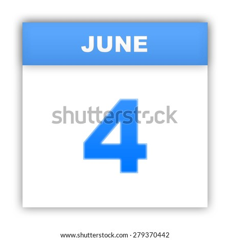 June 4. Day on the calendar. 3d - stock photo
