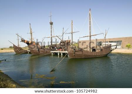 JUNE 2006 - Full size replicas of Christopher Columbus' ships, the Santa Maria, the Pinta or the NinÂ?Â?a at Muelle de las Carabelas, - stock photo
