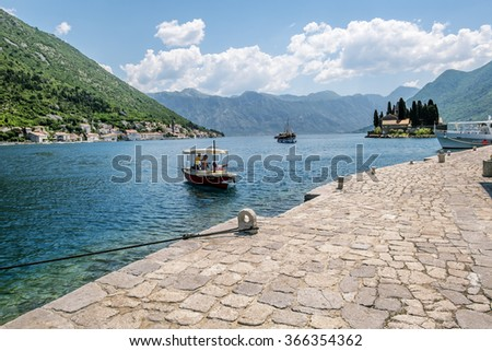 June 5, 2015.Perast. The boat pier on Church Island Gospa od Shkrpela in Kotor bay.Montenegro.
