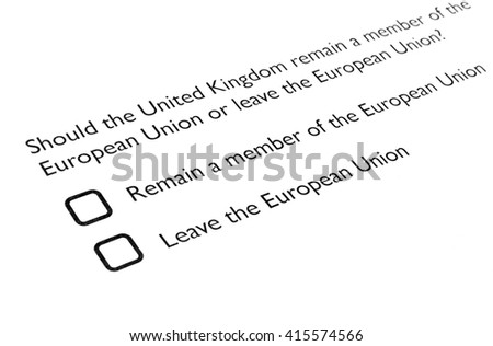 June 23 referendum: Should the United Kingdom remain a member of the European Union or leave the European Union. The poll is aka Brexit meaning Britain exit