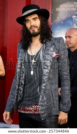 "June 8, 2012. Russell Brand at the Los Angeles premiere of ""Rock of Ages"" held at the Grauman's Chinese Theater, Los Angeles.  - stock photo"