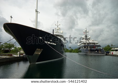 June 9, 2016 Shelter Bay, Panama: luxury superyachts docked in the private marina by the Panama Channel