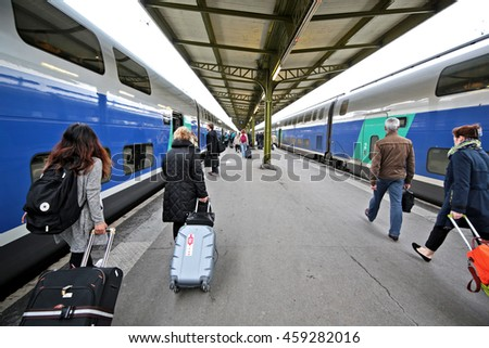 June 2,2016 summer travel, people waiting for train in Paris to Anncecy, Paris, France