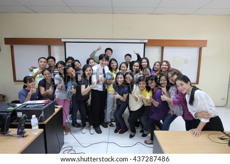 June 12, 2016 : Teachers study with video production for developing teaching materials for their students. At Bangkok Training Center School, Group Photo After Class, Bangkok, Thailand.
