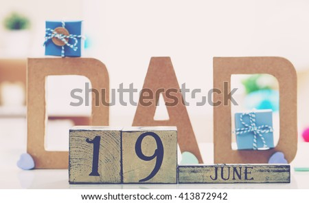 June 19th Father's day celebration theme with DAD letters - stock photo