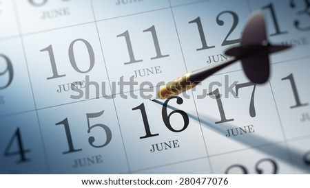 June 16 written on a calendar to remind you an important appointment.