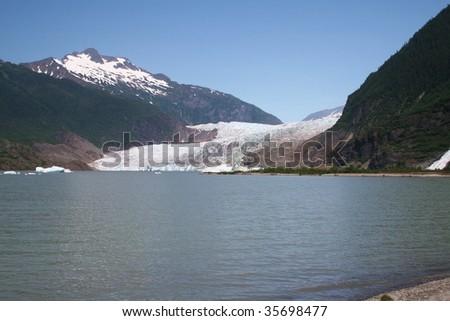 Juneau Alaska's Mendenhall glacier - stock photo