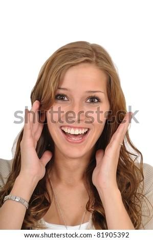 Junge Frau schreit - stock photo
