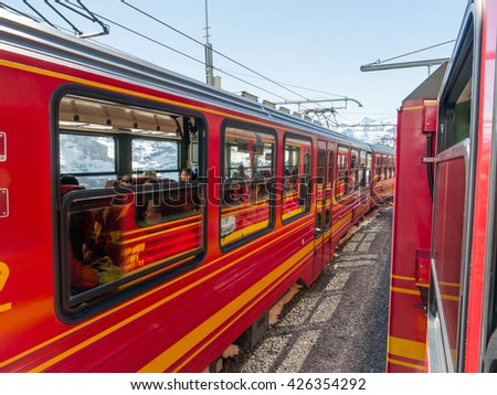 Jungfrau, Switzerland - May 2016 : The Jungfrau railway runs 9 kilometres from Kleine Scheidegg to the highest railway station in Europe at Jungfraujoch (3,454 m)