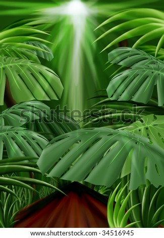 Jungle Background Illustration (Front leaf path included) - stock photo