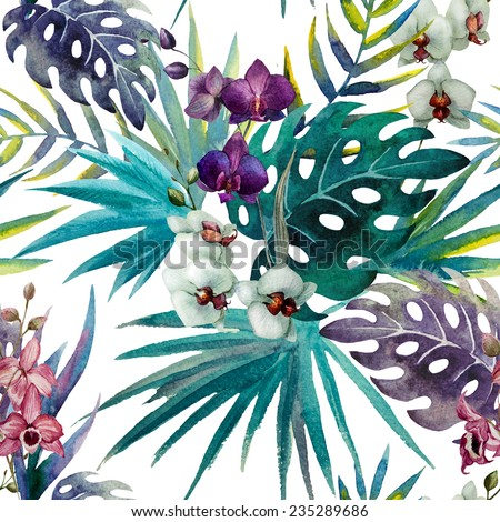 jungle, pattern, watercolor - stock photo
