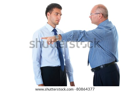 junior office worker gets fired by senior manager, point out with his hand and finger, isolated on white - stock photo