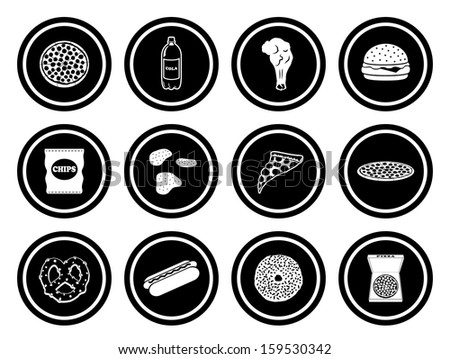 Junk Food Icon Set with Circle Icons.  Raster version.
