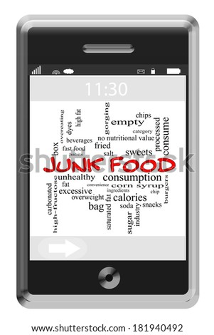 Junk Food Word Cloud Concept of Touchscreen Phone with great terms such as chips, sugar, snacks and more.
