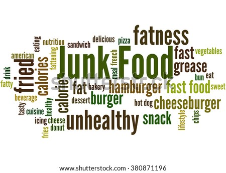 Junk Food, word cloud concept on white background.