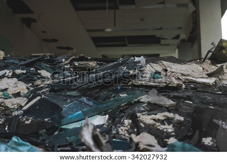 Junk pile of destroyed old building. - stock photo